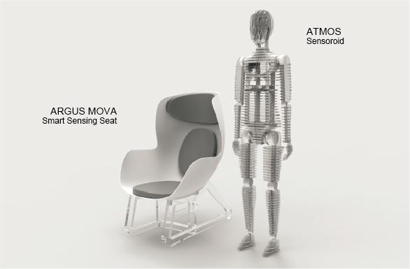 Manichino dotato di sensori e sedia intelligente con sensori in
