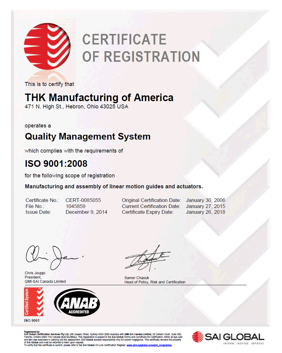 ISO 9001 Certificate THK Manufacturing America, Inc.